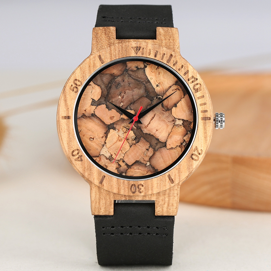 Men's Watch Unique Burned Paper Style Wood Watches Modern Wooden Retro Bamboo Wooden Watch Casual Male Clock  Relogio Masculino
