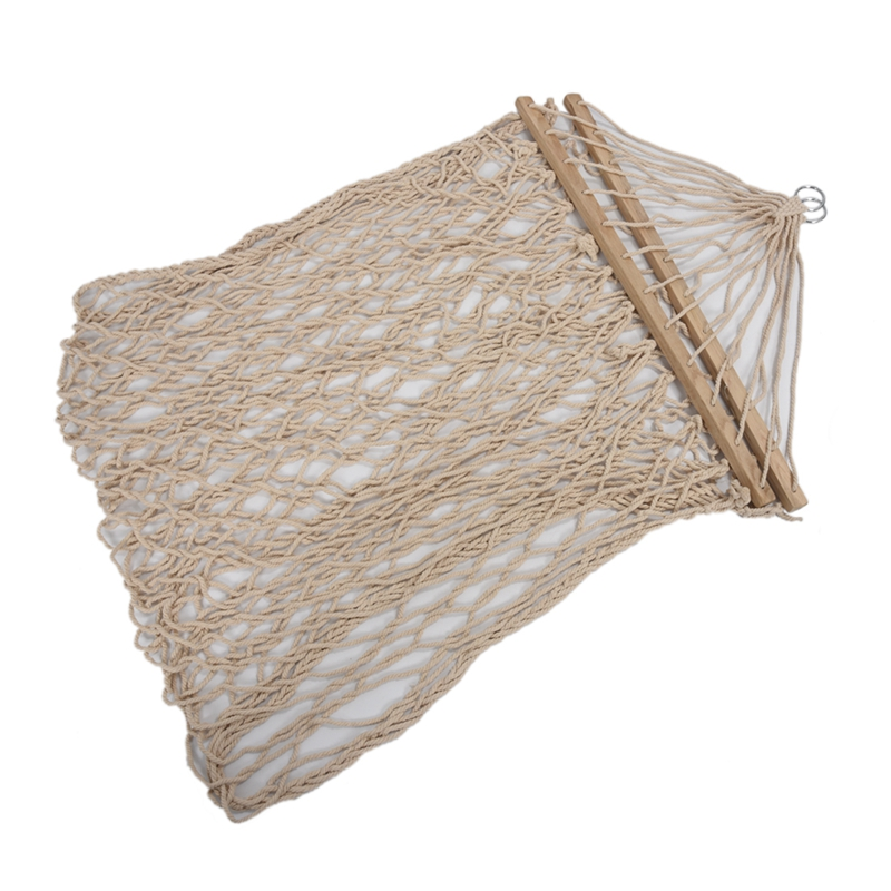 ABFU-White Cotton Rope Swing Hammock Hanging On The Porch Or On A Beach