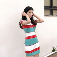 O-Neck Bodycon Color Block Striped High Waist Summer Women 's Casual Sheath Knitted Slim Fit Short Sleeve Mini Dress casual striped color block dress