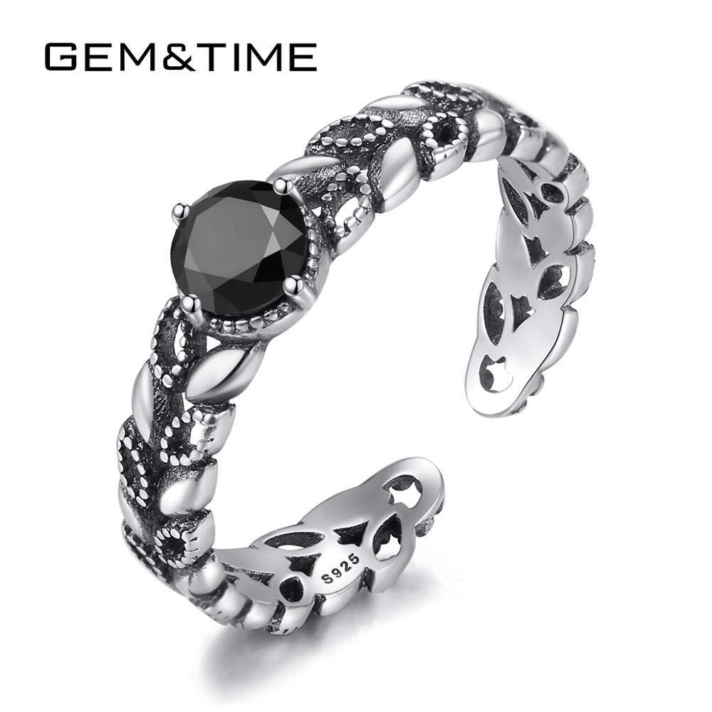 Gem&Time 100% Sterling 925 Silver Stackab Black Zircon Rings For Women Leaves Hollow Gun-Black Color Adjustable Rings JewelryGem