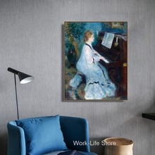 Mulher tocando o piano por renoir parede arte da lona posters e impressões pintura em tela decoração da sala de estar decoração casa