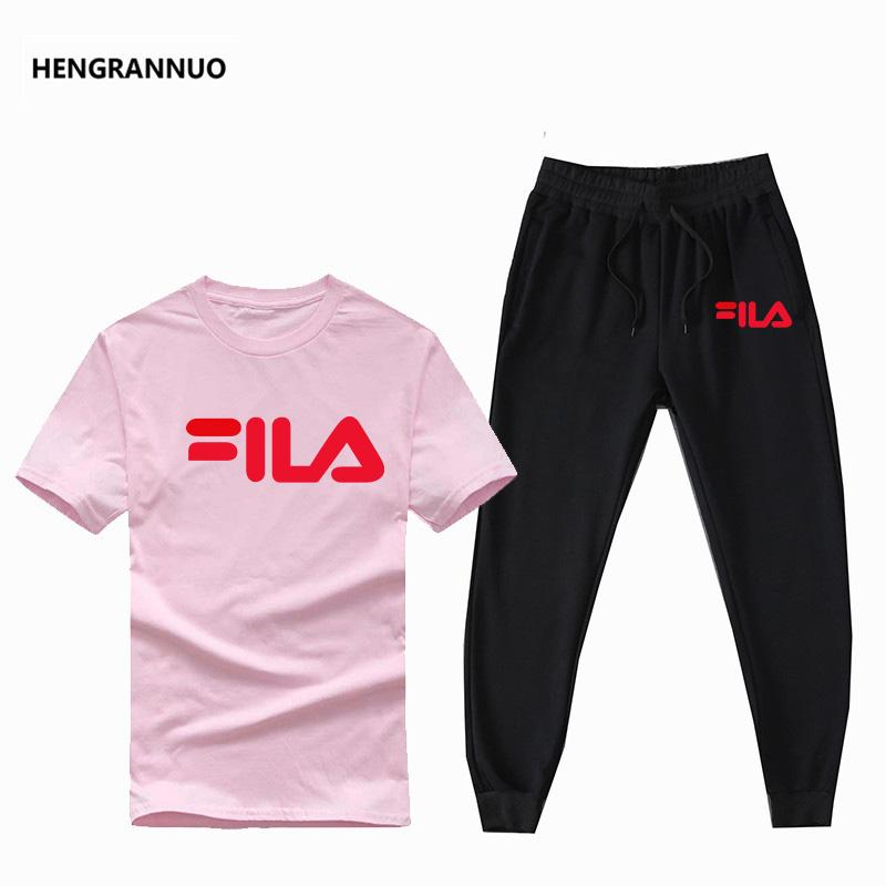 New Fashion Sportsuit And Tee Shirt Set Mens T Shirt Pants Summer Tracksuit Men Casual Brand Tee Shirts Men Brand T Shirt Set