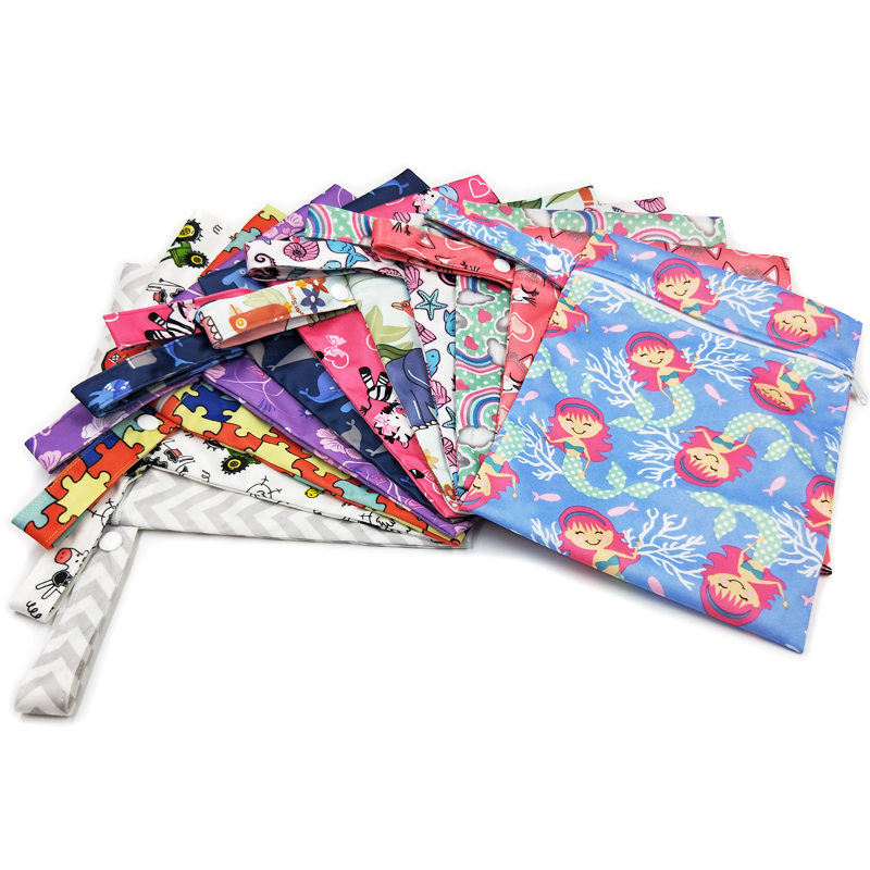 10 PCS Waterproof Reusable Wet Bag Printed Nappy Bags PUL Travel Wet Dry Bag Washable Wetbag Bags 20×25 cm Diaper Bag Wholesale