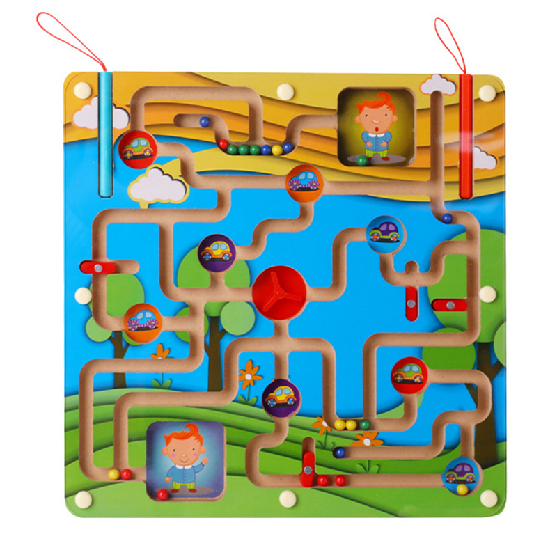 Dorime Cute Animal Cube Puzzle Maze Toys Game Wood Games Magnet For Children Adult Cube Puzzle Education Magnetic Maze
