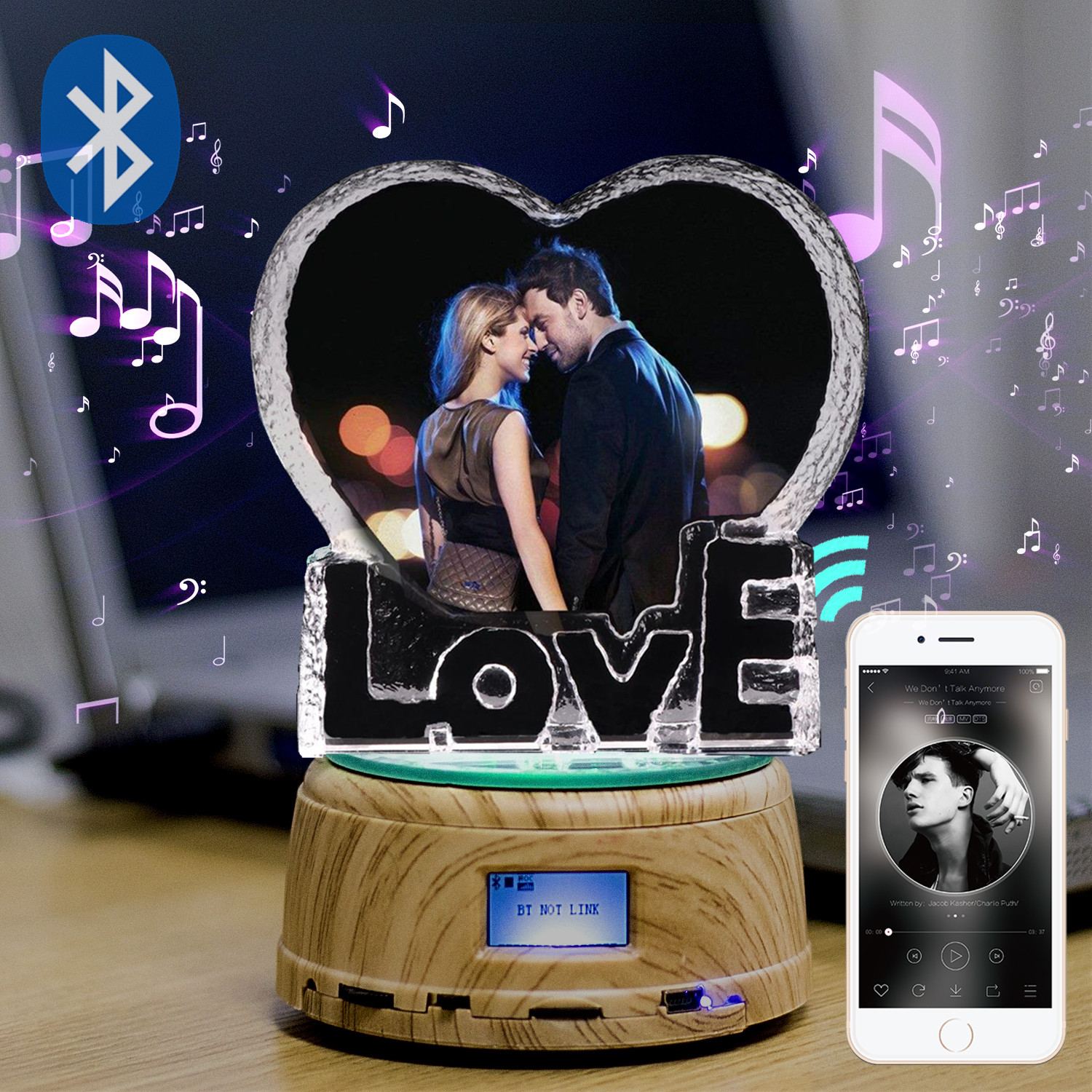Custom Photo LED Night Light K9 10cm Love Crystal Photo MP3 Music Swivel Display Bluetooth Lamp RGB Remote Control For Gift