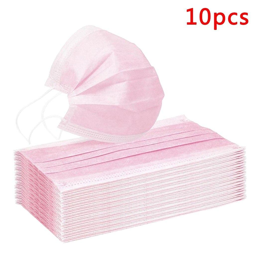 10 шт. маска для лица одноразовые маски розовая маска для лица защитные перчатки маска для лица на крышка на открытом воздухе Розовый Ветер т...