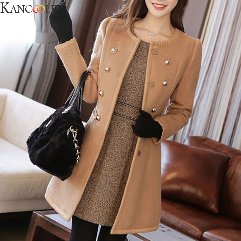 KANCOOLD Korean Version Women Long Sleeve Mid-Long Blazer Jacket  Warm Thicken Large Pockets Coat Female Outwear Winter Coat