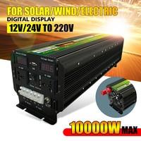 10000W(Peak) 12/24V To 220V UPS Inverter for Solar/Wind Rechargeable LCD Display 5000Watt Modified Sine Converter