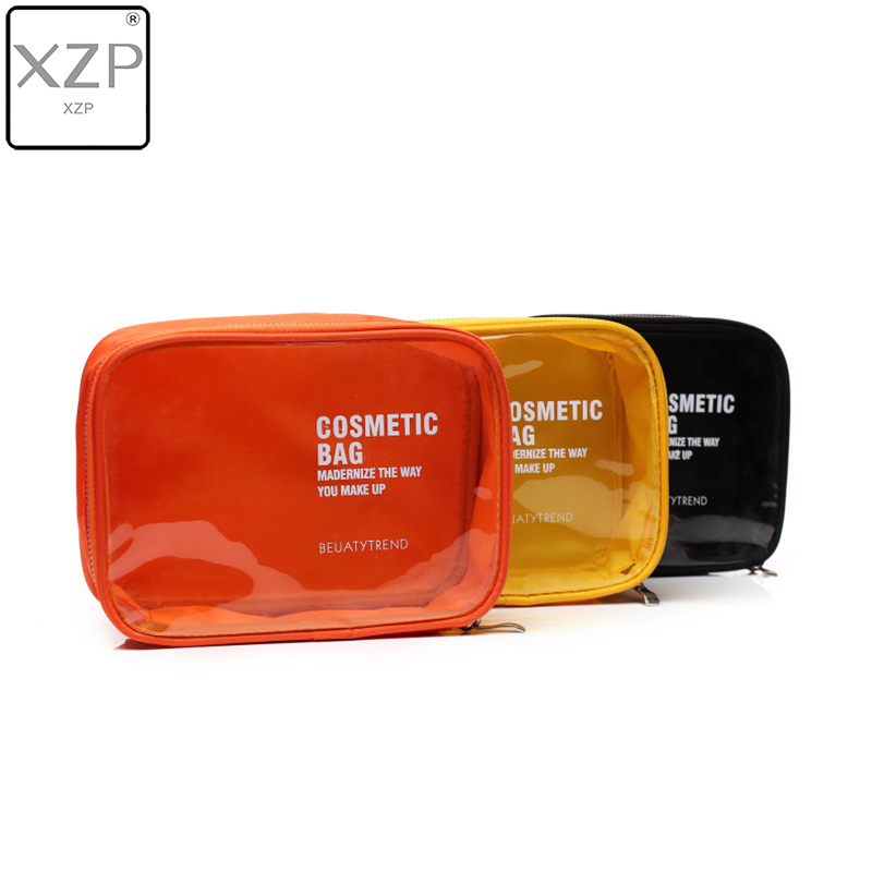 XZP Brand Jelly Color PVC Cosmetic Bag For Make Up Waterproof Travel Wash Case Women Pouch Lucency Travel Toiletry Storage Bag
