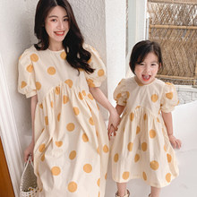 Polka Dot Family Dress Summer Short Sleeve Loose Mother Daughter Dresses Family Matching Outfits Family Look Clothes Long Dress