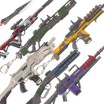 lovers kiss zinc alloy keychain silver pair APEX Legends Keychain Battle Royale Diecast Zinc Alloy Metal Gun Models Children Toy Gifts