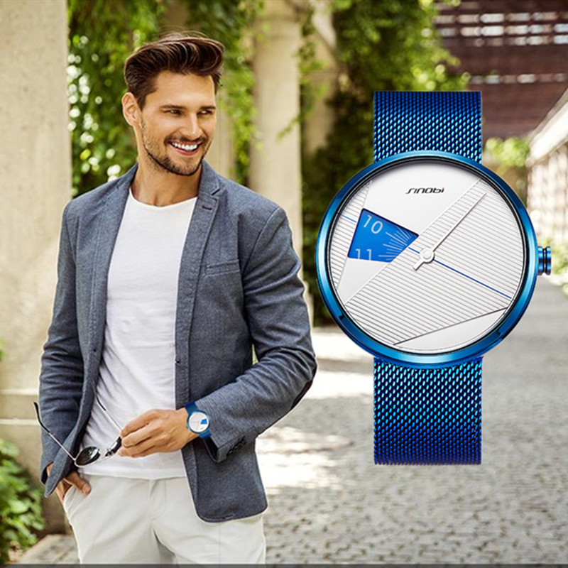 SINOBI 2019 Original Irregular Creative Men Watch Milan Strap Wristwatches Men Rotate Dial Plate Watches Sports Watch Drop Ship