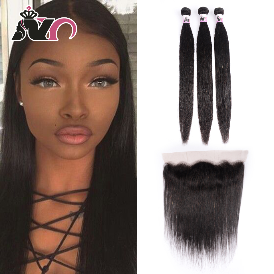 NY Straight Hair Bundles With Frontal 13*4 Frontal Ear To Ear Brazilian Weave NEW Human Hair Straight 3 Bundles With Frontal