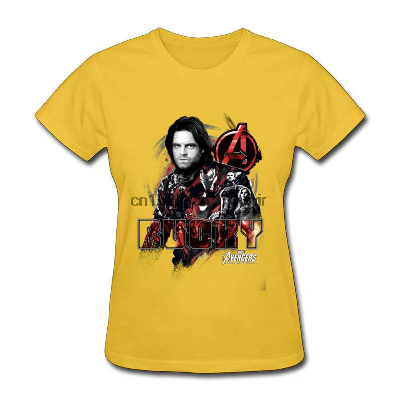 Yellow Women Tshirts Bucky Crew Design Tops Shirts 100% Cotton Crew Neck Custom Top T-Shirts Mother Day Best Tees Avengers