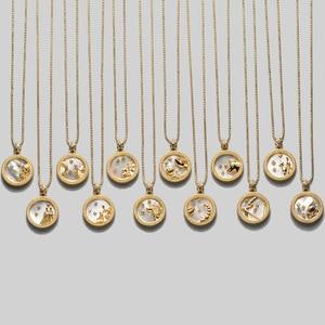 Elegant Star Zodiac Sign 12 Costellation Necklaces Pendants Charm Gold Color Choker Pendant Necklaces for Women Gift Dropship