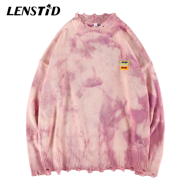 LENSTID 2019 Autumn Harajuku Retro Tie Dye Knitted Destroy Sweater Mens Hip Hop Streetwear Male Fashion Casual Pullover Sweaters