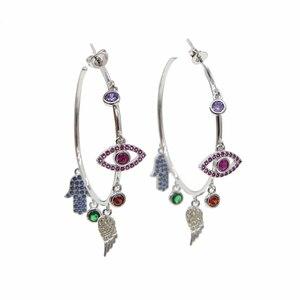Image 2 - Colorato cz pavimentato di lucky charms orecchino ad anello dellocchio diabolico ala della mano di hamsa splendida stunning europeo delle donne degli orecchini