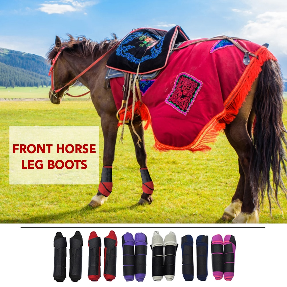 2 PCS Horse Leg Boots Equine Front Leg Horse Boots Wrap Equestrian Leg Protection Neoprene Horse Hock Brace Protection