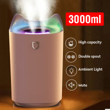 3L Air Humidifier Essential Oil Aroma Diffuser Double Nozzle With Coloful LED Light Ultrasonic Humidifiers Aromatherapy Diffuser