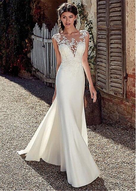 Scoop Short Sleeves Lace Appliques Mermaid Wedding Dresses Natural Slim Buttons Back Women Bride Wedding Dress Spring Long 3