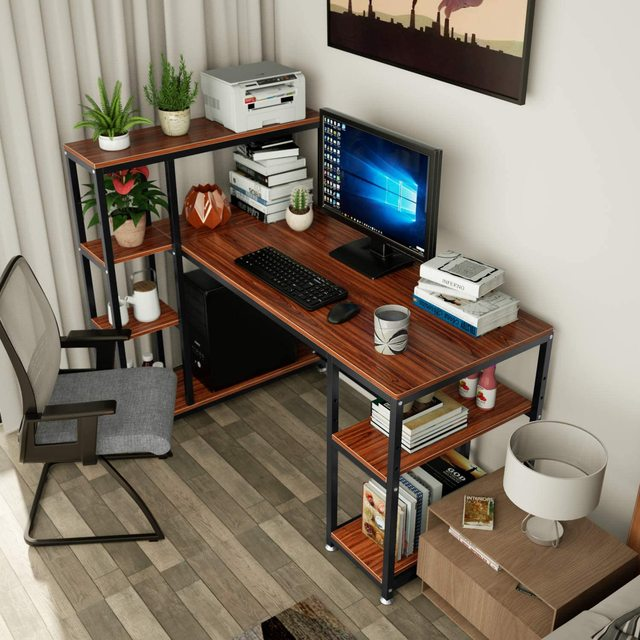 55 Inch Computer Desk  Table with Side Storage Shelf  3