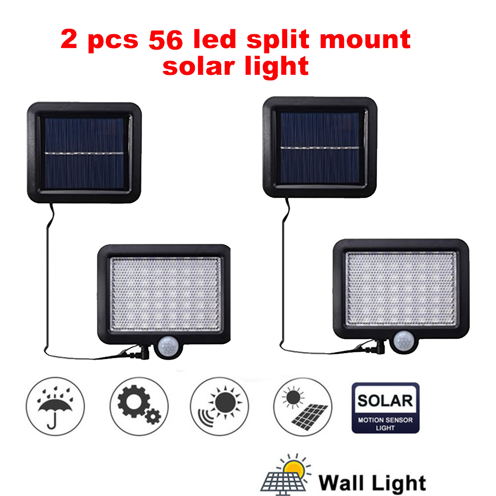 2/4pcs Led Solar Light Outdoor PIR Motion Sensor Waterproof Lighting For Garden Wall 100/56/30 Leds Four Modes Rotable Pole Sola
