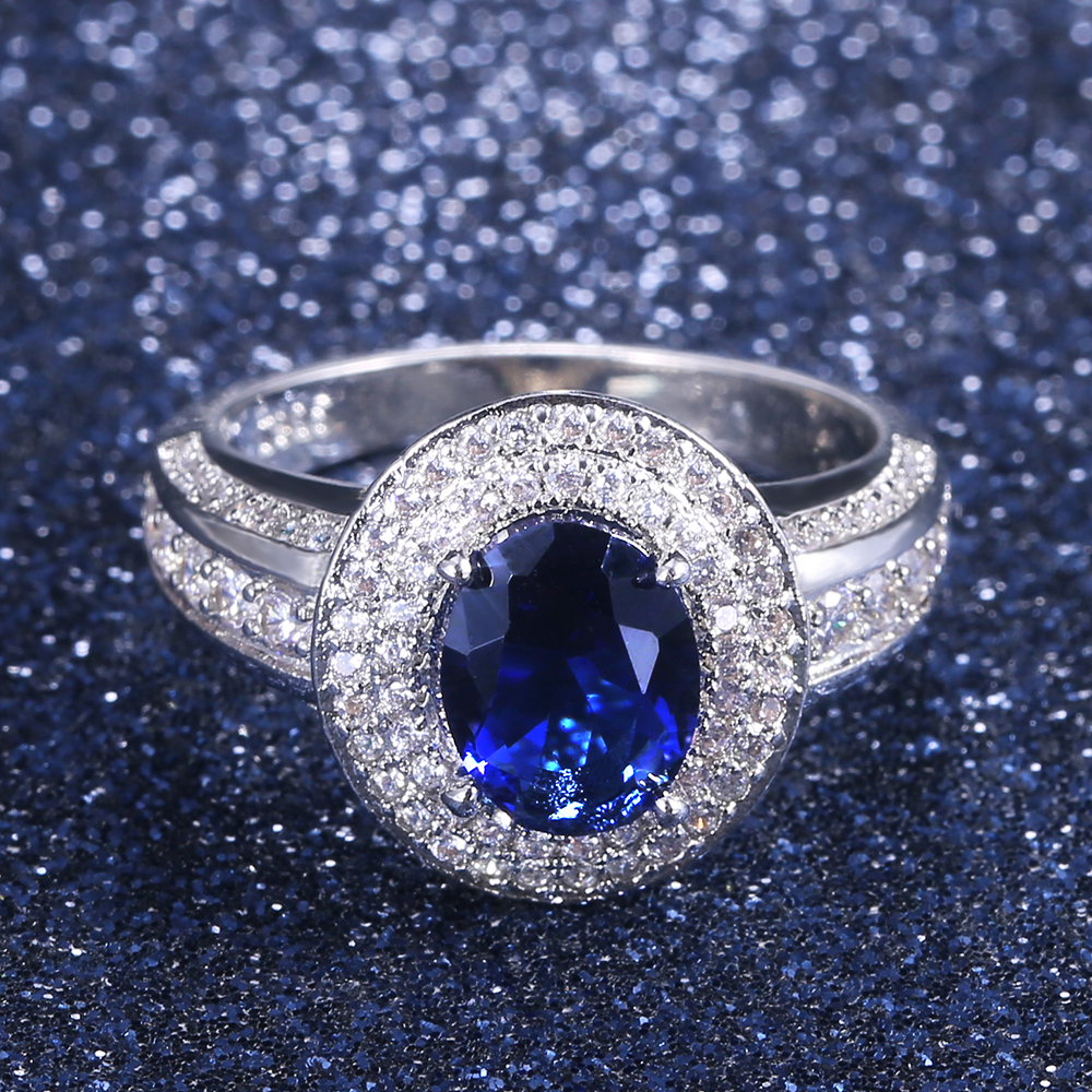 Huitan Vintage Solitaire Deep Blue Cubic Zircon Stone Party Ring For Women New Year's Gift Jewelry Wholesale Lots&Bulk Ring(China)