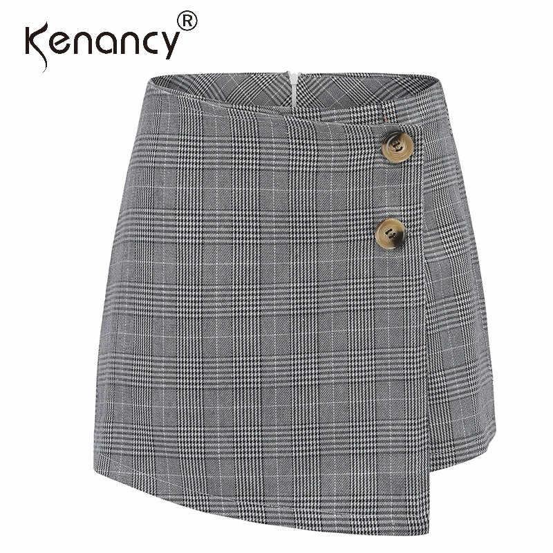 Kenancy Plaid geometryczne Wrap asymetryczna spódnica szorty jesień zima Feminino wysoka talia przycisk na co dzień ołówek krótkie spodenki damskie