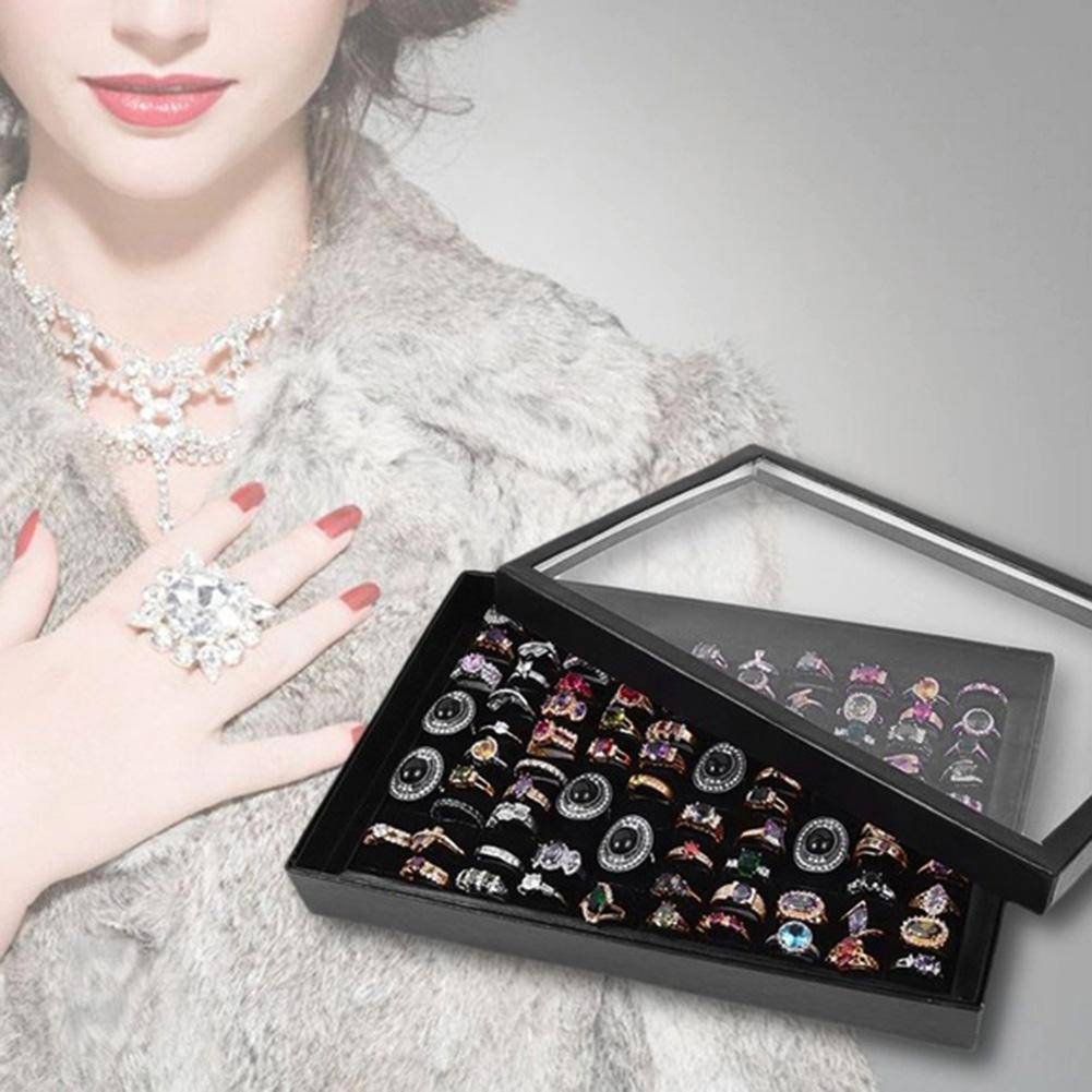 100 Grids Ring Display Box Jewelry Carrying Tray Case Holder Storage Organizer Bracelet Earring/Ear Stud Woman Jewelry Show Boxe