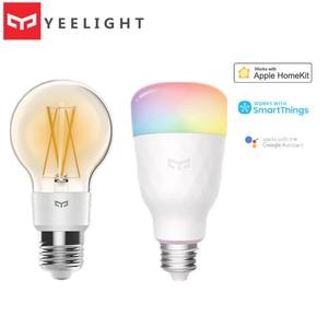 Image 1 - 2020 Yeelight חכם LED הנורה 800lm RGB E27 אלחוטי קול שליטה חכם WiFi App Apple Homekit שלט רחוק צבעוני נורות