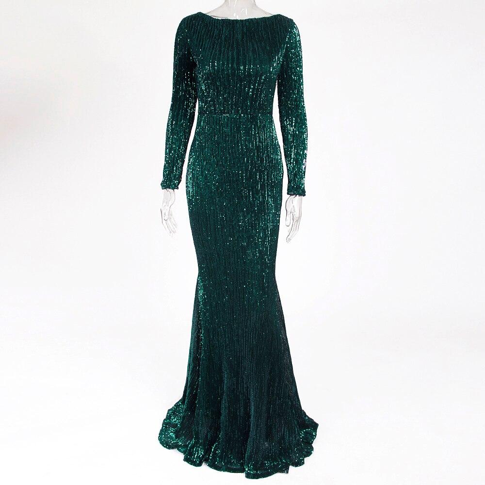 Grün Pailletten O Neck Maxi Kleid Voll Sleeved Bodycon Elegante Partei Kleid Kleid Stretchy Nacht Lange Kleid-in Kleider aus Damenbekleidung bei  Gruppe 3