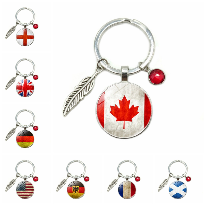 Hot Germany Canada Scotland France American Flag Glass Dome Keychain 8 Color Crystal Alloy Leaves Jewelry Key Ring Small Gift
