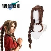 Jogo final fantasia vii 7 peruca cosplay aerith gainsborough cosplay peruca longa ff7 aeris marrom rabo de cavalo peruca de cabelo sintético