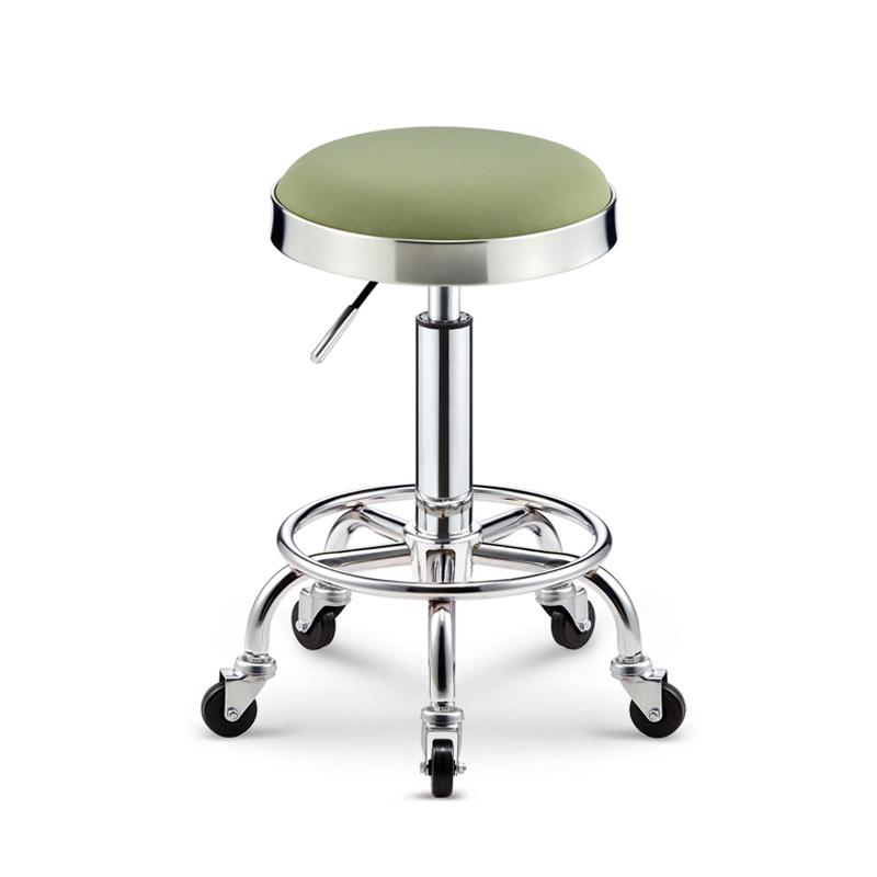 Lifting Beauty Barber Shop Chair Rotating Round Stool Hairdressing Work Bench Pulley Stainless Steel Hair Cutting Stool