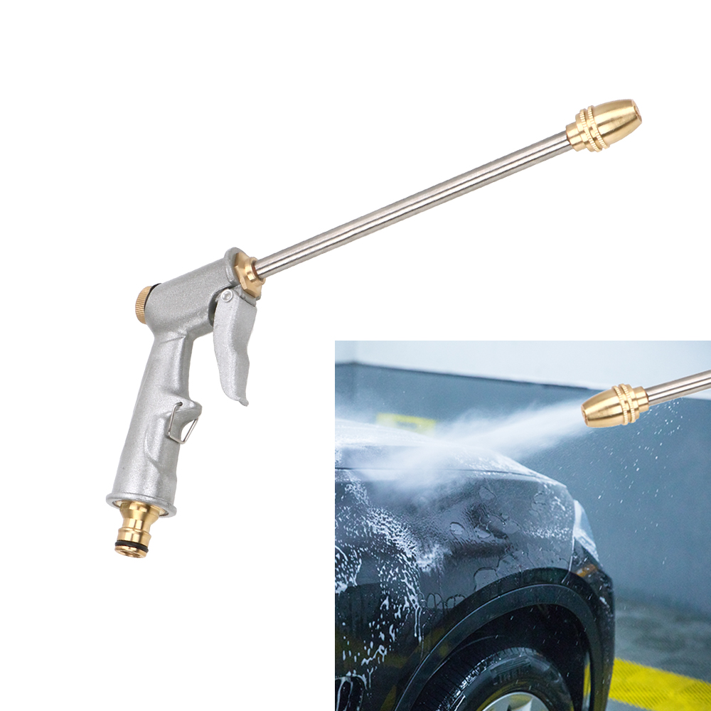 LEEPEE 27CM Water Gun Silver Garden Water Jet Washer Spray Car Washing Tools High Pressure Power Washer High Pressure Water Gun