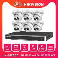 Hikvision ds 8CH Sistema di TELECAMERE CCTV 48V POE NVR Kit Onvif HD 8MP HD POE IP Macchina Fotografica Impermeabile di Visione Notturna sistema di Telecamere di sicurezza