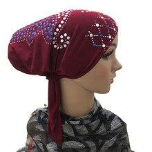 African Popular Women Bonnet Colorful Diamond Stretchable Ear Cap Muslim Underscarf Hijab Turban Tie Back Nationality Hijab Cap
