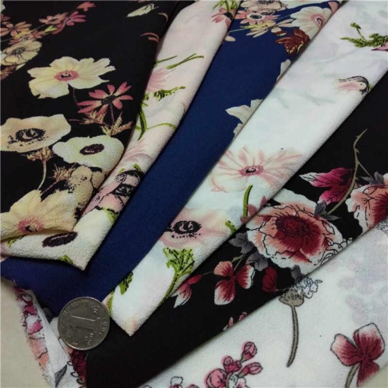 Pantalones Estampados De Gasa Crepe Tela De Vestido No Transparente Con Estampado De Flores Tela Aliexpress