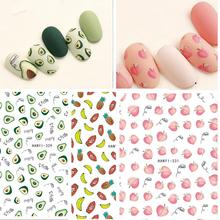Newest CA-286 287 3d nail sticker pineapple and words design decal decoration for wraps