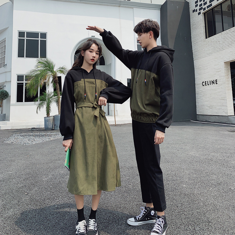 Christmas Couple Cotton Hoodie Clothing College Fashion Korean Style Lovers Women Dress Family Look Matching Clothes Outfit Wear