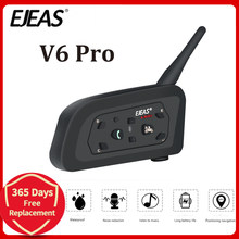 EJEAS V6 PRO Bluetooth motosiklet BT Communicator kask interkom kulaklık 1200m interkom 6 Riders için