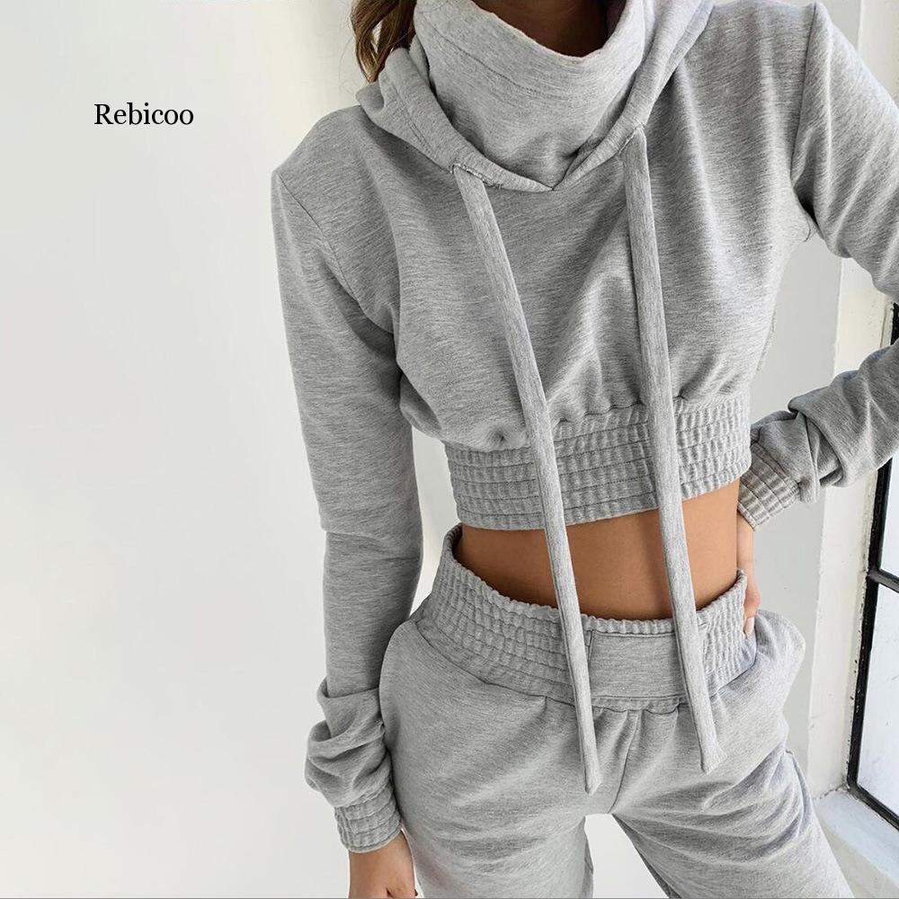 Rebicoo New Autumn Gray Tracksuit Long Sleeve Drawstring Hoodie Top+Long Pants Two Piece Sets Women Clothes Matching Sets Hot