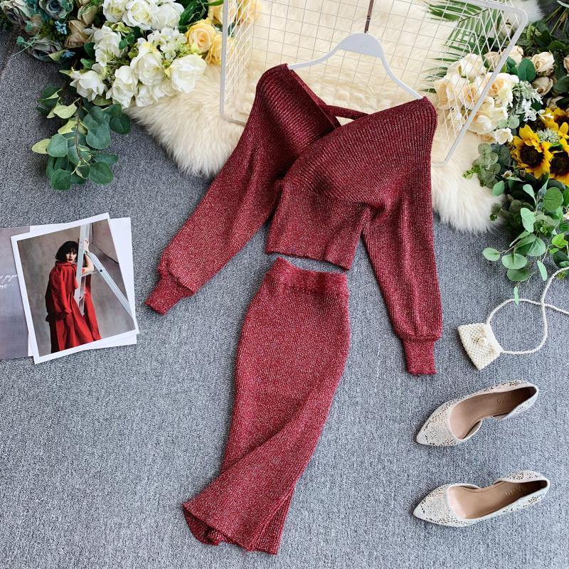 Vintage Women Skirt Set Winter Lantern Sleeve V Neck Pullover Sweater Top And Sexy Midi Knitted Skirt Two-Pieces Suits Autumn