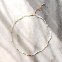LiiJi Unique Real Pure Gold Natural Australian White Opals Charm Natural Moonstone Goldfilled Clasp Choker 37+5cm