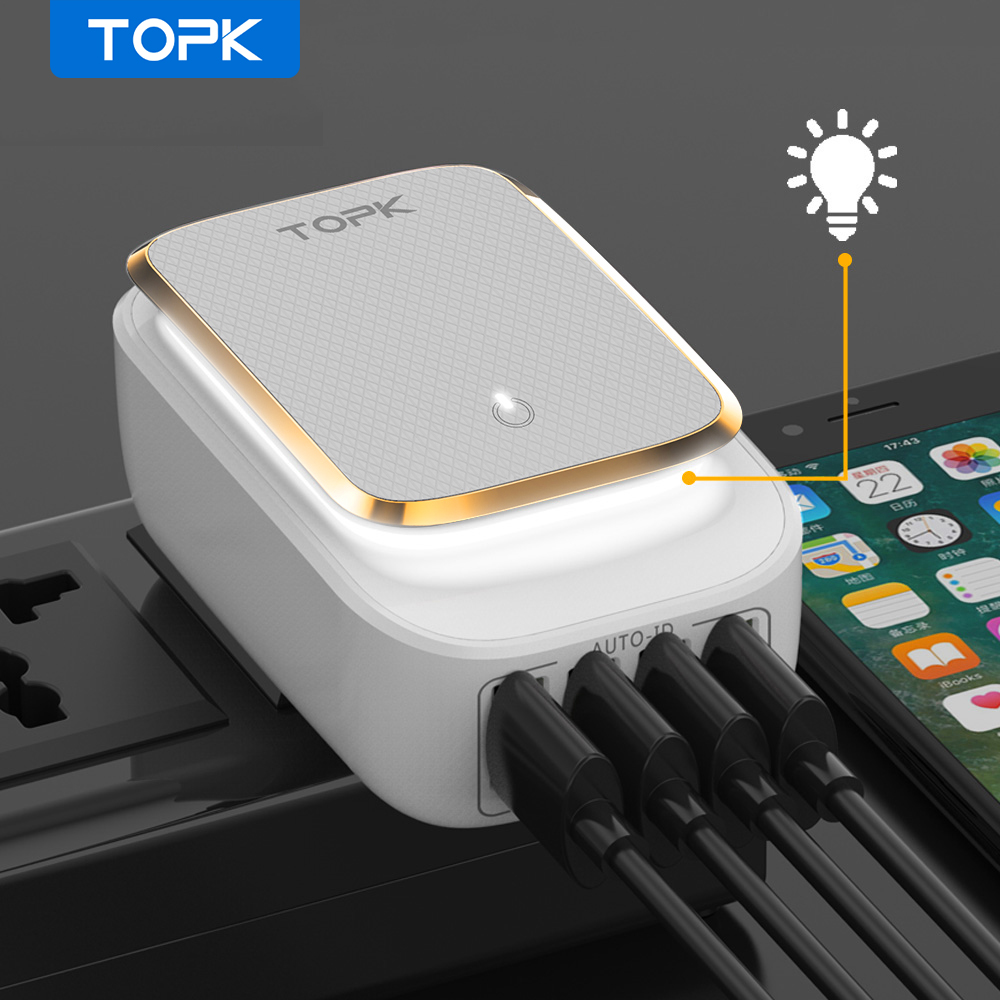 TOPK 4 Port 4.4A(Max) 22W EU USB Charger Adapter LED Lamp Auto ID Portable Phone Travel Wall Charger for iPhone Samsung|travel wall charger|wall chargereu usb charger - AliExpress