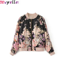 купить Boho Vintage Floral Print Bomber Jacket Coat Women 2019 Fashion O Neck Long Sleeve Windbreaker Jacket Women Streetwear Outwear дешево