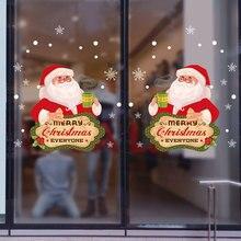 Pegatinas de Navidad dibujos animados para escaparate ventana extraíble Santa Claus muñeco nieve decoración del hogar a