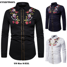 CYXZFTROFL New Mens Printed Embroidery Long-sleeved Shirt Brand Clothing Casual Slim Fashion Trend Large Size S-XXL