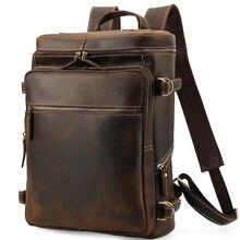 2019 New Crazy Horse Leather Backpack Men's Top Quality Handmade Vintage Business Computer Bag Retro Genuine Leather Backpack цена в Москве и Питере