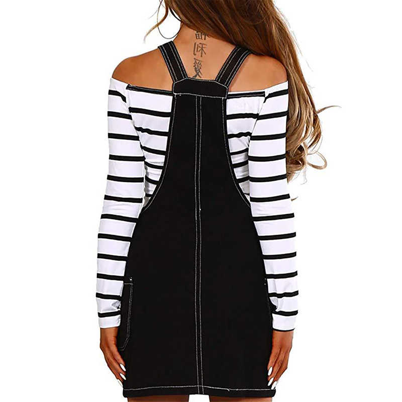 Women solid denim midi skirt sleeveless straps buttons design female black casual skirt 2019 new